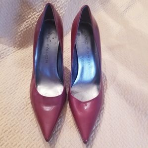 Marc Fisher maroon pointed toe heels leather upper